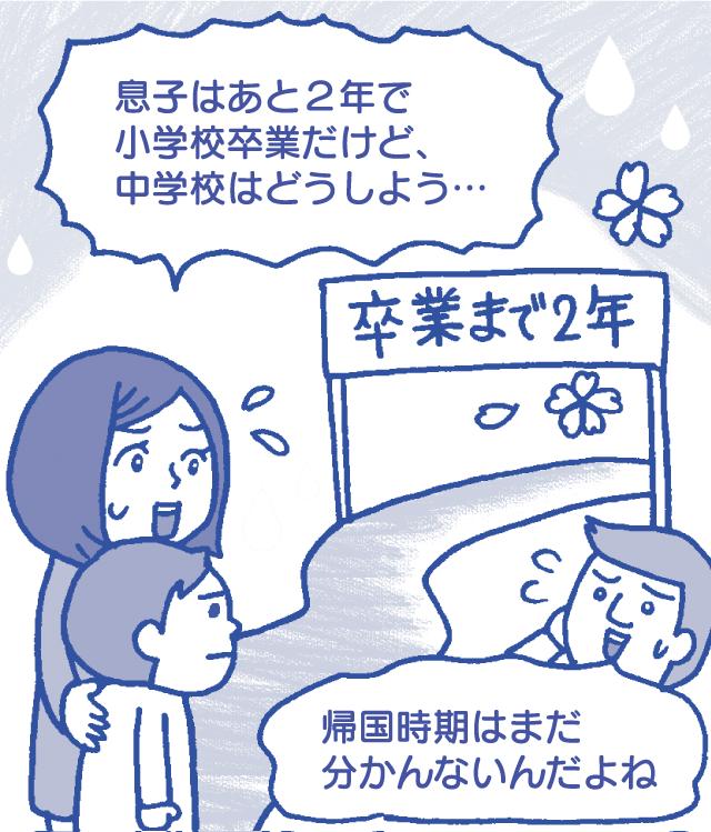 日本に帰る時期が分からず、帰国後の学校を考えられない